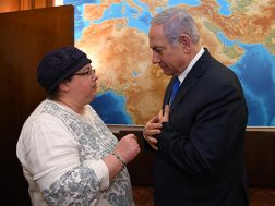 PM Netanyahu and Zachary Baumel's suster, Osnat Haberman
